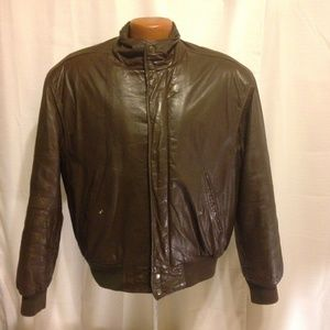 Members Only Vintage Brown Leather Bomber 42